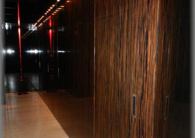 Porte de communication et armoire affleurées à la paroi