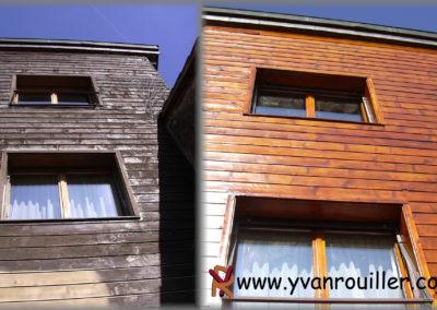 Rénovation d'une façade : ponçage et vernissage complet