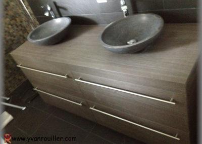 Meuble de salle de bain suspendu en mélaminé avec vasque