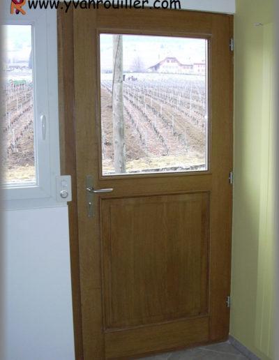 Porte d'entrée assemblée en chêne